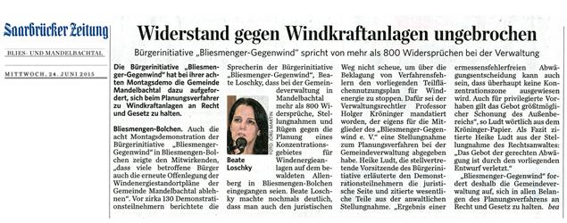 Saarbrücker Zeitung berichtet über Aktivität der Bürgerinitiative