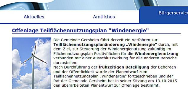 Gersheim legt Pläne zum Teilflächennutzungsplan Windenergie offen