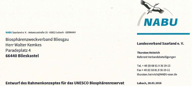 Stellungnahme des NABU vom Januar 2016 zum Rahmenkonzept der Biosphäre Bliesgau
