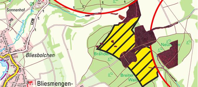 Windkraftzone am Allenberg von Biotopen durchsetzt