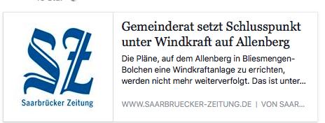 Verfahren zur Ausweisung einer Windkraft-Konzentrationsfläche am Allenberg wird  eingestellt.