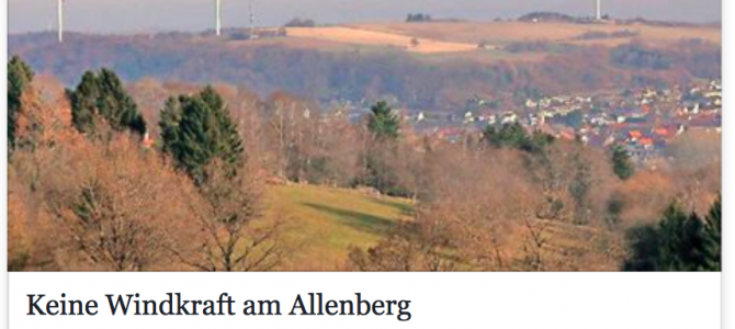 Keine Windkraft am Allenberg – frohe Bürger