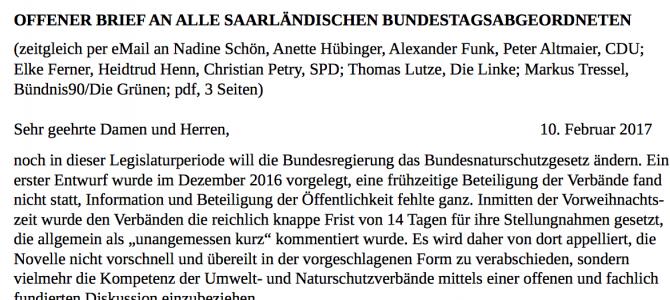Offener Brief an alle saarländischen Bundestagsabgeordneten