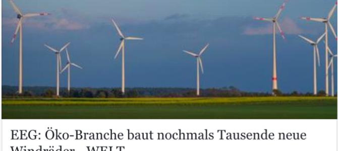 Die Windkraft wird in den kommenden zwei Jahren boomen wie selten zuvor – Artikel aus der welt.de vom 15.02.2017