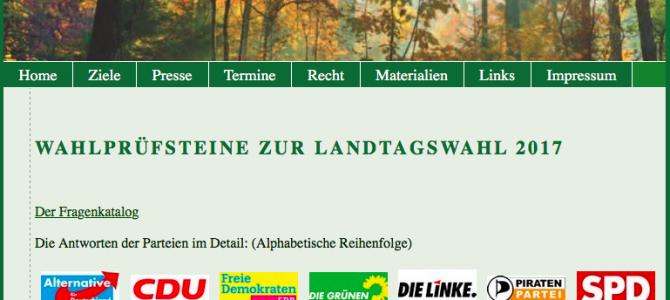 Aktuell: Auswertung der Wahlprüfsteine zur Landtagswahl 2017