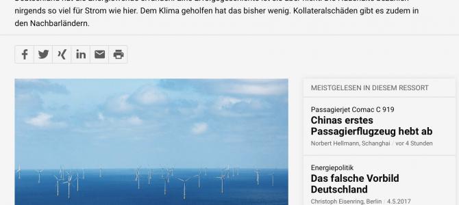 Blick über den Zaun – so sieht die schweizer NZZ Neue Zürcher Zeitung unsere deutsche Energiewende. Artikel vom 04. Mai 2017