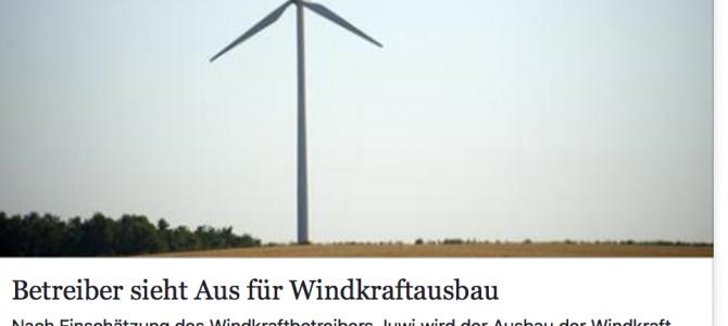 Betreiber sieht Aus für Windkraftausbau – Artikel von SR.de vom 21.05.2017