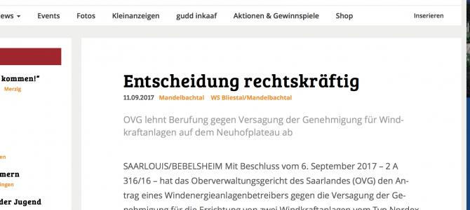 Nun wohl endgültig: Keine Genehmigung für Windkraftwerk auf dem Neuhofplateau in Mandelbachtal-Bebelsheim.