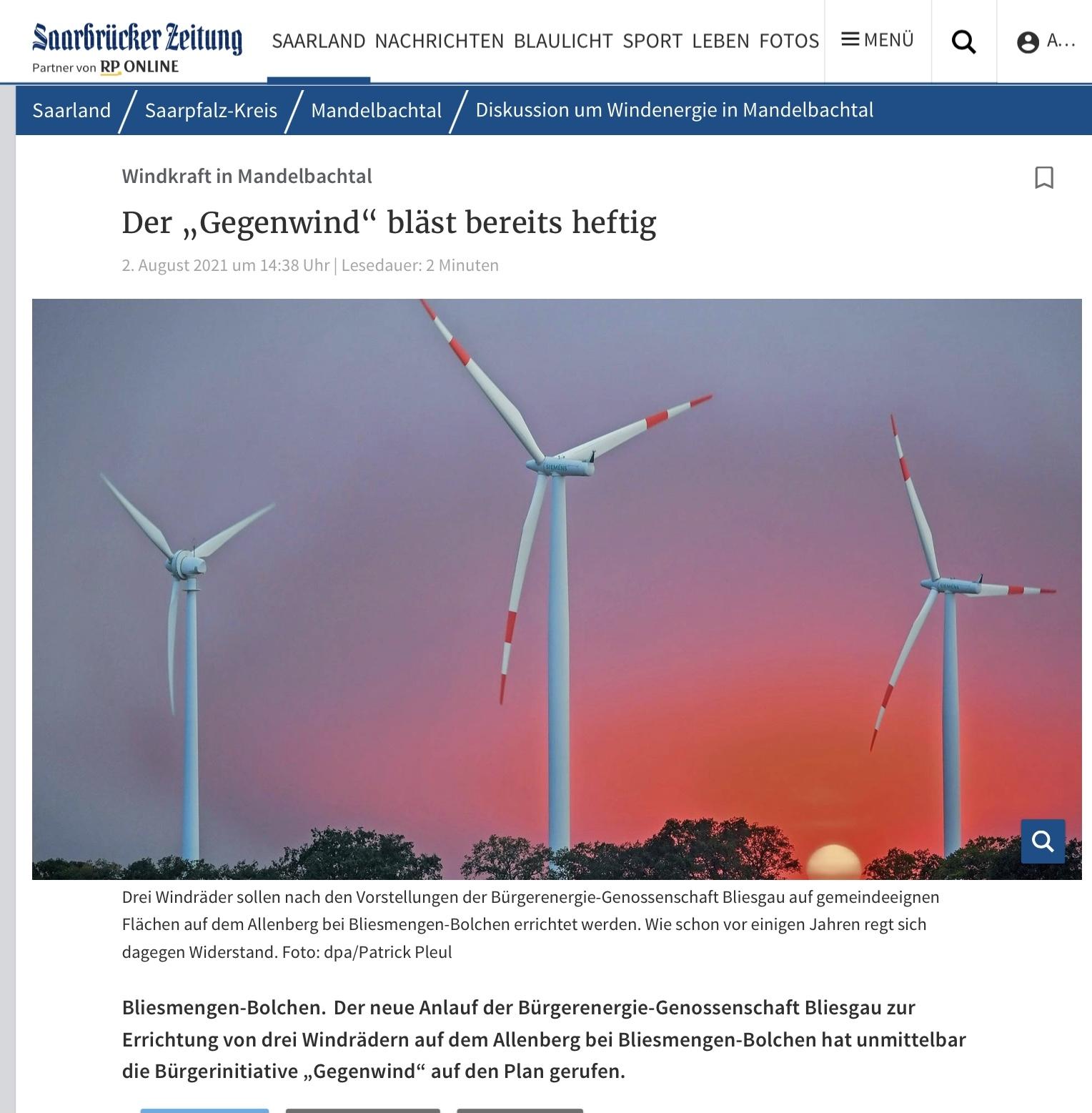 Bericht aus der Saarbrücker Zeitung vom 02.08.2021