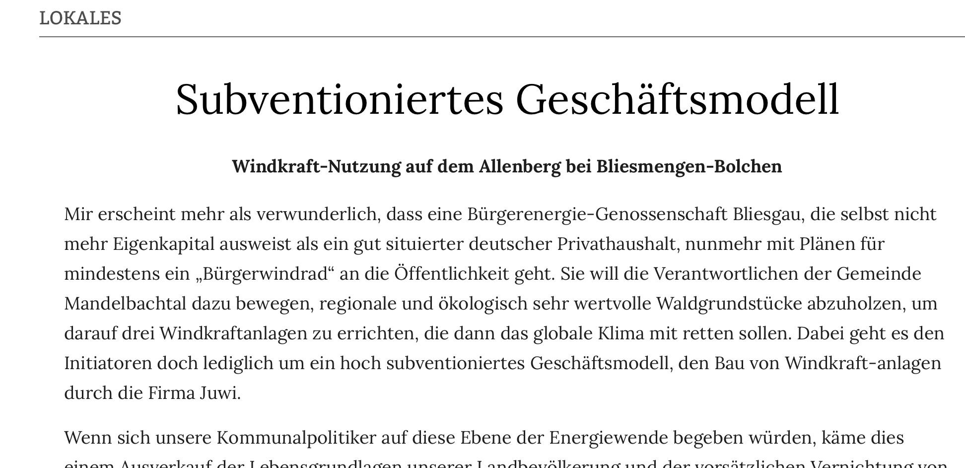 Bemerkenswerter Leserbrief vom 11.08. 2021 aus der Saarbrücker Zeitung